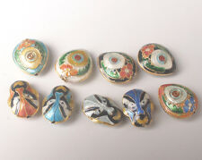 12Pcs Cloisonne Enamel Mixed Chinese LianPu and Heart Charms Beads