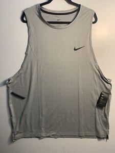 Men Nike Pro Dri Fit Gray Athletic Tank Top Shirt Size 3XL-Tall Performance