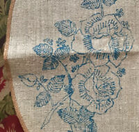 Vintage Irish Linen To Embroider Round Table Place Mat Roses Stamped Transfer