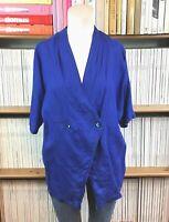 Ladies vtg MAX MARA 100% linen top blouse shirt 80s boxy batwing UK 8 10 US 4 6