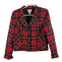 Vtg Pendleton Women's Size 12 Red Plaid Virgin Wool Blazer Jacket Made in USA