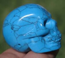 35mm 1OZ Blue TURQUOISE Jasper Skeleton, Crystal Healing SKULL gift