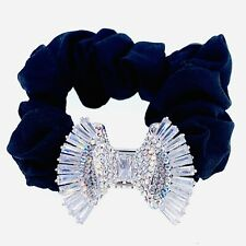 BOW Hair Rope Wrap made with Swarovski Crystal Scrunchies Ponytail Holder Silver