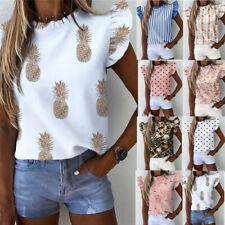 Womens Ruffle Short Sleeve T Shirts Ladies Casual Daily Blouse Summer Shirt Tops