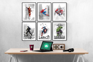 Marvel Avengers Superhero Location Set Of 6 Prints Pictures Wall Art Poster
