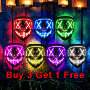 Halloween LED Glow Mask 3 Modes Light Up The Purge Movie Cosplay Costume Party.