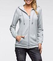 Neu Damen Sweat Jacke in Gr. 36 / 38 S Grau Kapuze Langarm Bequem 950721 -6033A