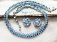 VINTAGE BLUE AURORA BOREALIS CRYSTAL DOUBLE STRAND NECKLACE EARRINGS BRIDAL  SET