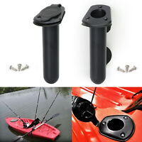 2x Plastic Flush Mount Fishing Boat Rod Holder and Cap Cover fits Kayak Pole