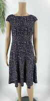 Chaps Ralph Lauren Womens Sheath Dress Size M Blue Printed Jersey Knit Stretch