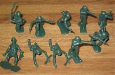 Vintage Toy Plastic Figures TEN Dark Green U.S. WWII Soldiers