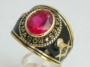 12X10 mm United States July Red Ruby Color Stone Mason Masonic Men Ring Size 14