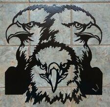 """Three Eagle Heads Plasma Cut Metal Wall Art 28"""" W x 29"""" T Black Textured Finish"""