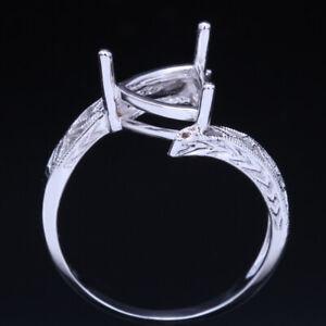FINE JEWELR 7x7-8x8MM TRILLION SEMI-MOUNT SETTING  SILVER SETTING WEDDING RING