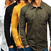 Pocket Work Shirt Military Men's Long Sleeve Casual Cargo Army Shirts Tops Tee