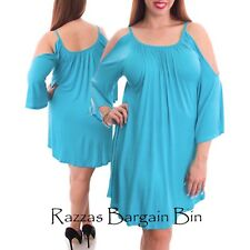 New Ladies Gorgeous Aqua Summer Open Shoulder Dress Plus Size 14/1XL (9732)JU