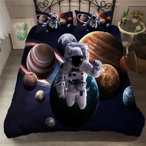 Space Journey Design Bedding Set Astronauts Quilt Cover and Pillowcase Set Queen