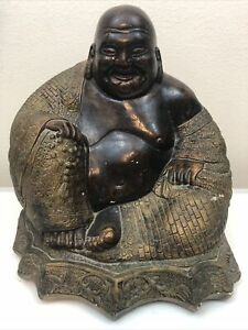 """Smiling Ceramic Buddha Piggy Bank/ Coin Bank 12"""" X 12"""" Large Made To Look Bronze"""