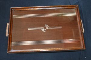 Genuine Art Deco style wood tray & handles Reverse painted silver on glass 21x13