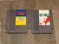Goal & World Cup / Super Spike V'Ball Nintendo Nes Cleaned & Tested 2 Game Lot