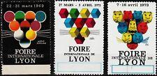 3 alte reklamemarken 1969-1973 int.ausstellung in lyon, löwe  /0502