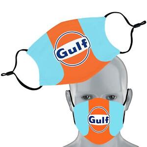 Gulf Racing Car Printed Face Mask Double Layer Washable Filter Face Cover