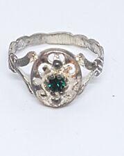 Anello in argento 800 con smeraldo sintetico