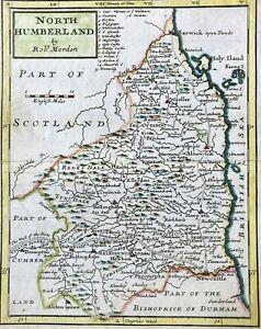 Antique 1701 Map of Northumberland by Robert MORDEN - Miniature Morden