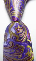 New Classic Paisley Purple Gold Red JACQUARD WOVEN 100% Silk Men's Tie Necktie