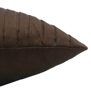 S4Sassy Decor Brown Pleated Square Cushion Cover Classic Pillow-sjY