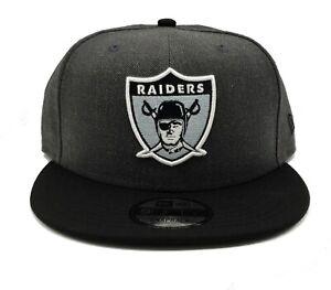 Los Angeles Raiders New Era 9Fifty Vintage Baycik Heather Graphite Snapback Hat