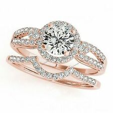 1 Ct Blue & D/vvs1 Diamond 14k Gold Over Wedding Bridal Ring Set