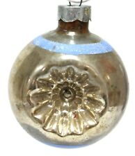 Antique Indent Stripped Glass Ball Hand Blown Christmas Ornament Made In USA