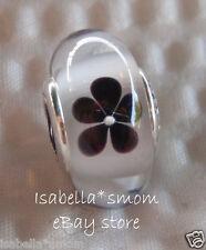 NEW Authentic PANDORA Black/White BLOSSOM Flowers MURANO Glass Charm~Bead 791605
