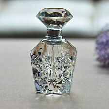 Vintage Crystal Perfume Bottle Refillable Glass Art Carved Diamond Stopper Gift