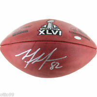MARIO MANNINGHAM SIGNED SUPER BOWL XLVI FOOTBALL NY GIANTS SF 49ers STEINER COA