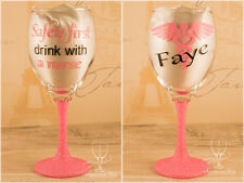 Safety first drink with a nurse - Personalised Glitter wine glass medical xmas