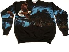 Vintage Bald Eagle All Over Print Art Unlimited  Sick Sz M Sweatshirt DRIP