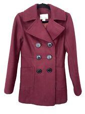 Bar Iii Macys Pea Coat Wool Double Breasted Jacket Maroon Womens Size Small