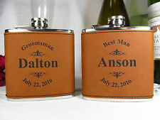 2 Personalized Engraved Flasks Groomsmen Present, Guys Gfits Leather RWHD Logo