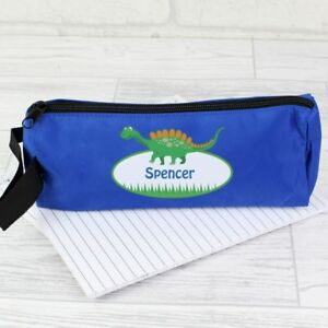 Personalised Dinosaur Blue pencil case - Back to School