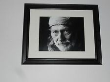 "Large Framed Willie Nelson 1990's Head Shot B/W Poster Glass Frame 24"" by 20"""