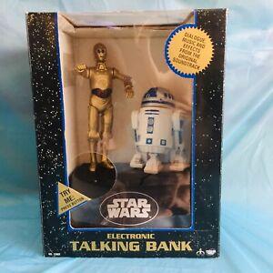 VINTAGE 1995 STAR WARS R2-D2 / C3-PO ELECTRONIC TALKING BANK, MONEY BOX & MORE.