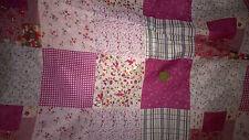 tissu voile de coton 100% patchwork fleurs fonds rose 100x140 cm