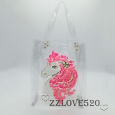 New Women Clear Tote Bag Shoulder Bag with Sequin Unicorn Designer Runway Purse