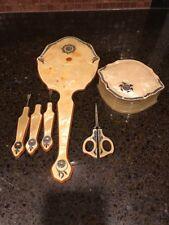 Vintage Celluloid  6 Piece, Rhinestone Inlaid Vanity/Dresser Set