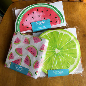 Martha Stewart 3 Ply Watermelon Luncheon & Cocktail Paper Napkins 40 Ct Ea