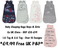 BABY SLEEPING BAG BOYS GIRLS EX UK STORE 1.5 & 2.5 Tog 0-24M COTTON BRAND NEW