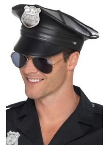 Adult Mens Deluxe Police Hat Black Faux Leather Fancy Dress Accessory