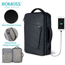 "Romoss 15.6"" Waterproof Laptop Backpack w/USB Port Messenger Bag Travel Rucksack"